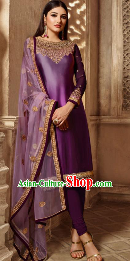 Asian Indian Traditional Embroidered Purple Satin Blouse and Pants India Punjabis Lehenga Choli Costumes Complete Set for Women
