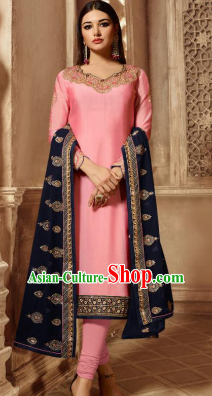 Asian Indian Traditional Embroidered Peach Pink Satin Blouse and Pants India Punjabis Lehenga Choli Costumes Complete Set for Women