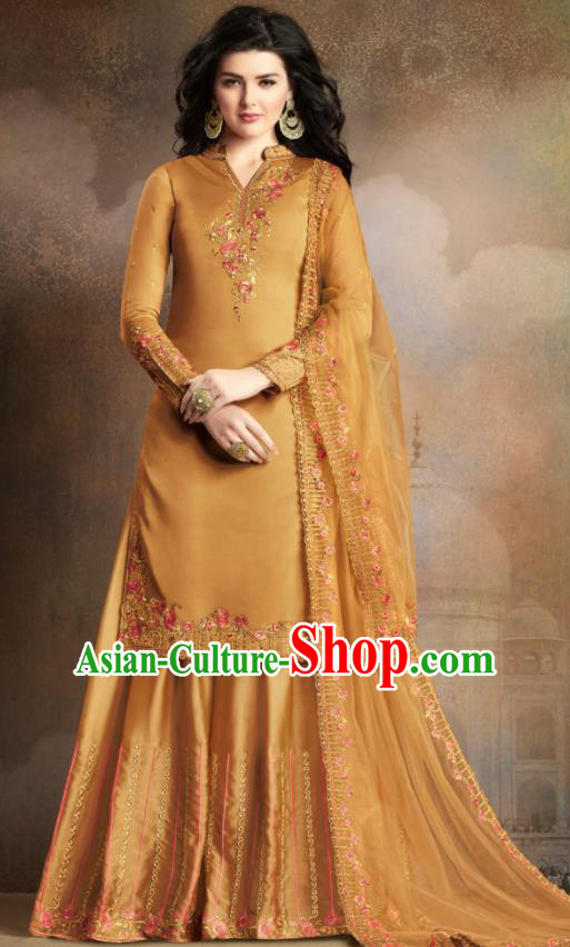 Asian Indian Traditional Embroidered Ginger Satin Blouse and Loose Pants India Punjabis Lehenga Choli Costumes Complete Set for Women