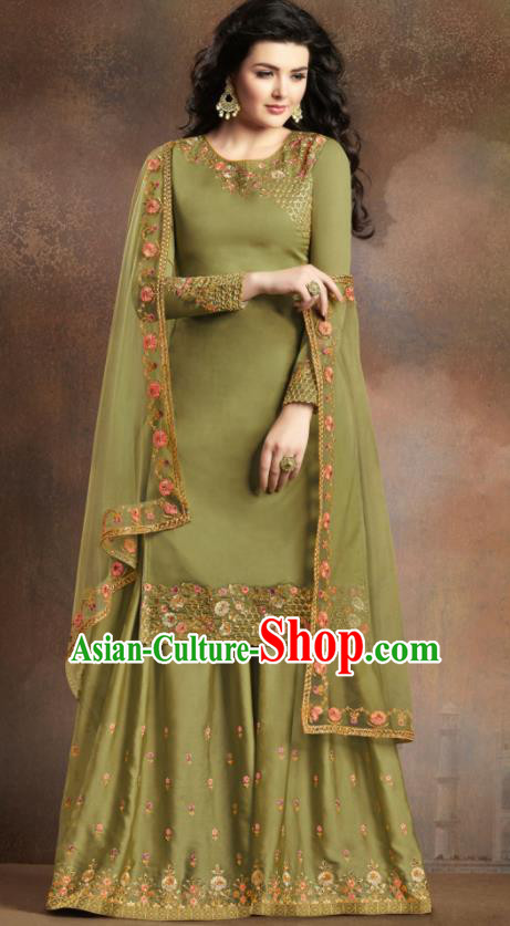 Asian Indian Traditional Embroidered Olive Green Satin Blouse and Loose Pants India Punjabis Lehenga Choli Costumes Complete Set for Women