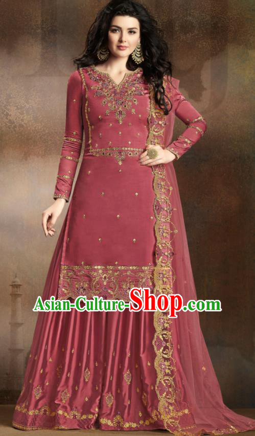 Asian Indian Traditional Embroidered Wine Red Satin Blouse and Loose Pants India Punjabis Lehenga Choli Costumes Complete Set for Women