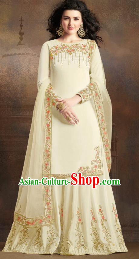 Asian Indian Traditional Embroidered Beige Satin Blouse and Loose Pants India Punjabis Lehenga Choli Costumes Complete Set for Women