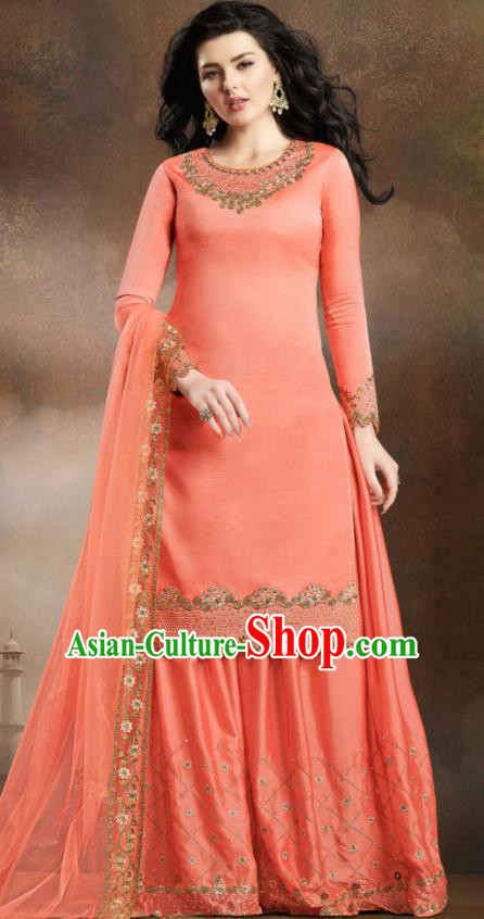Asian Indian Traditional Embroidered Peach Pink Satin Blouse and Loose Pants India Punjabis Lehenga Choli Costumes Complete Set for Women