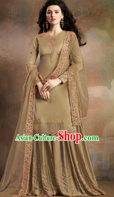 Asian Indian Traditional Embroidered Khaki Satin Blouse and Loose Pants India Punjabis Lehenga Choli Costumes Complete Set for Women