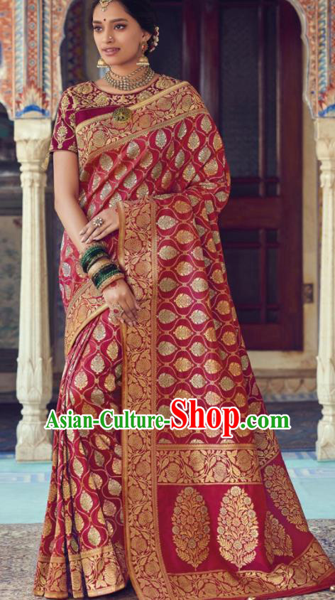 Indian Traditional Festival Wine Red Silk Sari Dress Asian India National Court Bollywood Costumes for Women