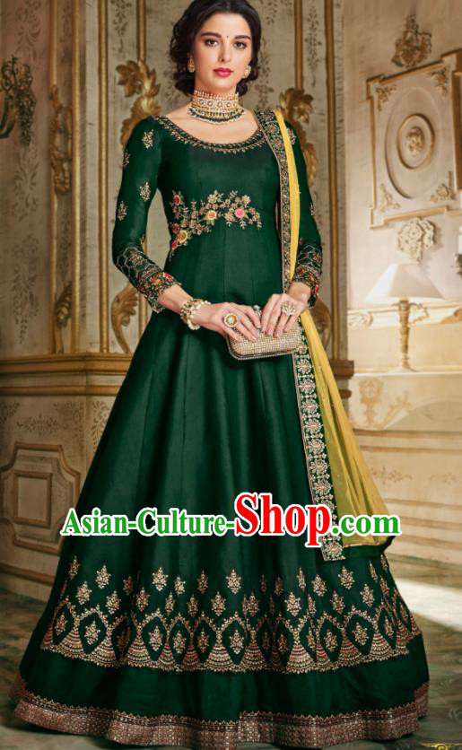 Indian Traditional Festival Deep Green Anarkali Dress Asian India National Court Bollywood Costumes for Women