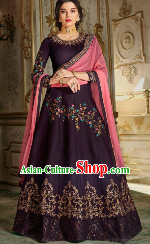 Indian Traditional Festival Deep Purple Anarkali Dress Asian India National Court Bollywood Costumes for Women