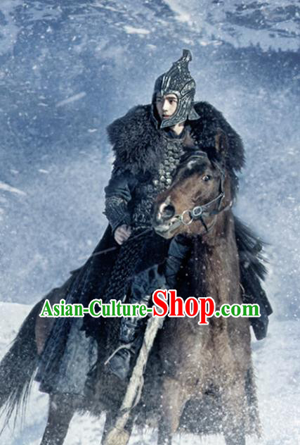 Chinese Drama Ancient General Armor and Helmet Tribe Novoland Eagle Flag Prince Lv Guichen Liu Haoran Replica Costumes for Men