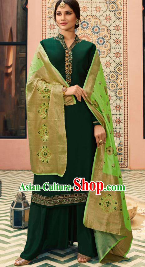 Indian Traditional Embroidered Deep Green Satin Blouse and Loose Pants India Punjabis Lehenga Choli Costumes Complete Set for Women