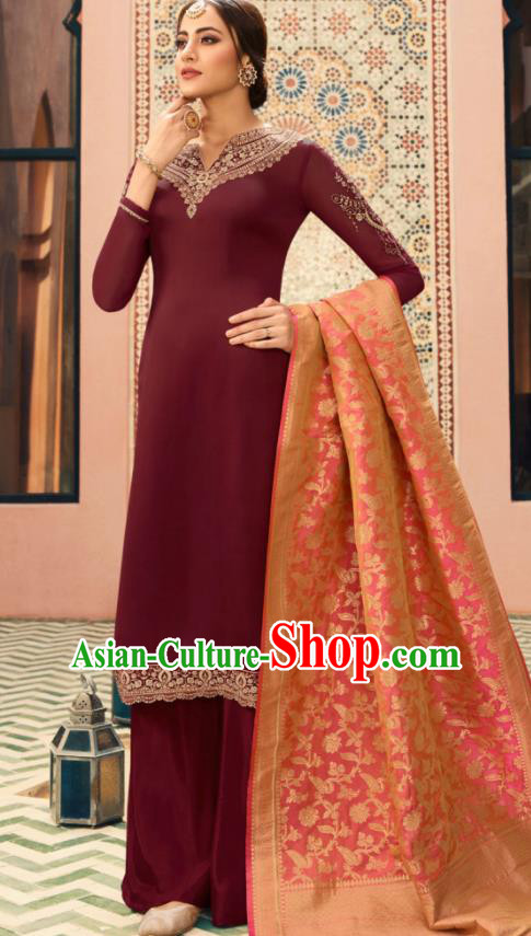 Indian Traditional Embroidered Wine Red Satin Blouse and Loose Pants India Punjabis Lehenga Choli Costumes Complete Set for Women