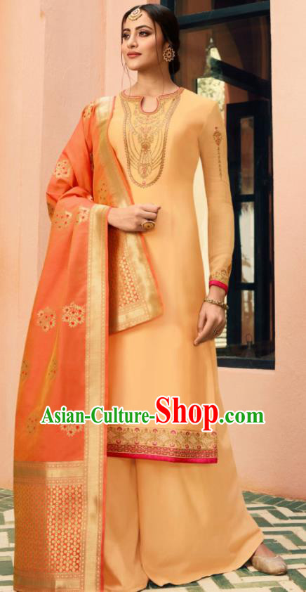 Indian Traditional Embroidered Apricot Satin Blouse and Loose Pants India Punjabis Lehenga Choli Costumes Complete Set for Women