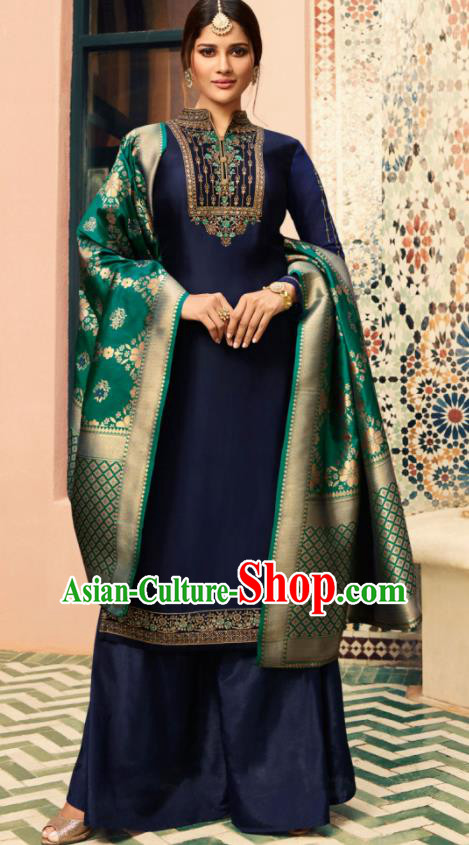 Indian Traditional Embroidered Navy Satin Blouse and Loose Pants India Punjabis Lehenga Choli Costumes Complete Set for Women