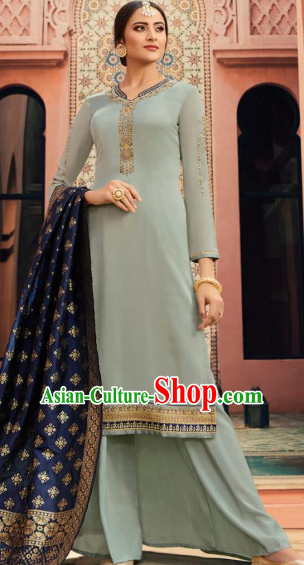 Indian Traditional Embroidered Light Blue Satin Blouse and Loose Pants India Punjabis Lehenga Choli Costumes Complete Set for Women