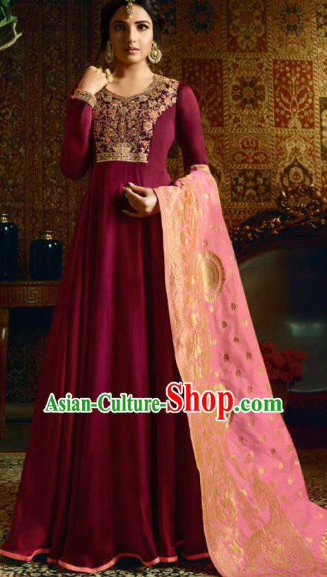 Indian Traditional Festival Rosy Satin Anarkali Dress Asian India National Court Bollywood Costumes for Women