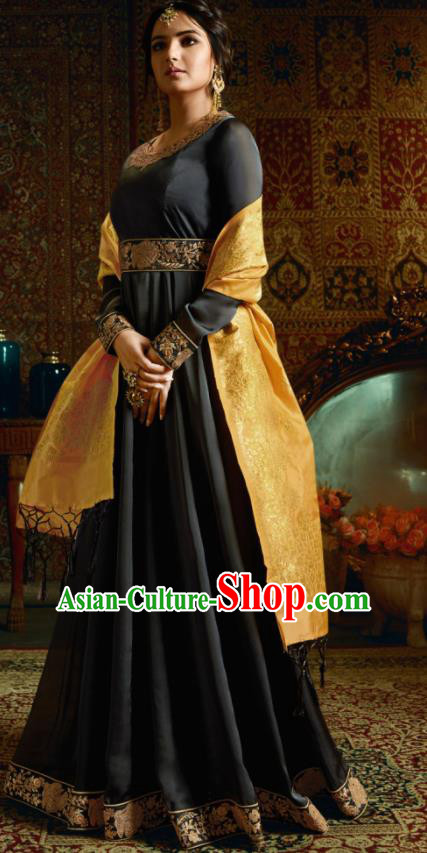 Indian Traditional Festival Black Satin Anarkali Dress Asian India National Court Bollywood Costumes for Women