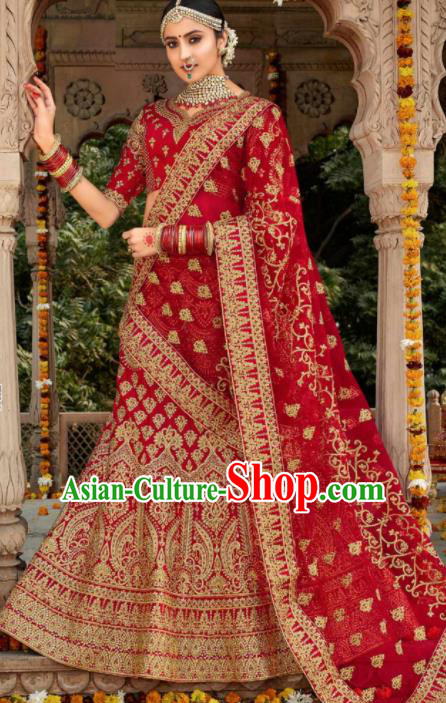 Indian Traditional Wedding Lehenga Court Bride Red Embroidered Dress Asian India National Bollywood Costumes for Women