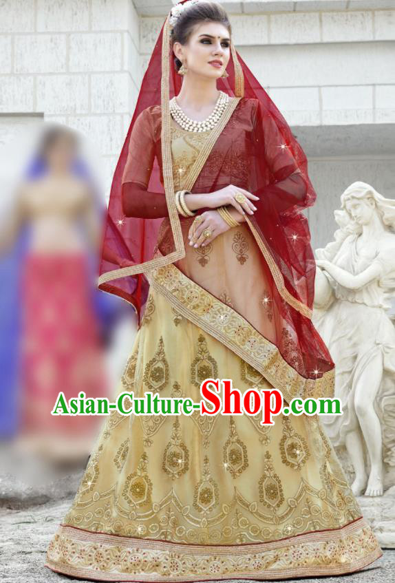 Traditional Indian Embroidered Lehenga Light Golden Dress Asian India National Bollywood Costumes for Women