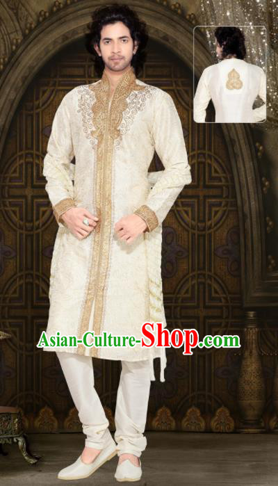 Asian Indian Sherwani Embroidered Beige Clothing India Traditional Wedding Bridegroom Costumes Complete Set for Men