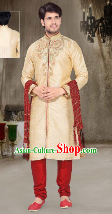 Asian Indian Sherwani Embroidered Apricot Clothing India Traditional Wedding Bridegroom Costumes Complete Set for Men