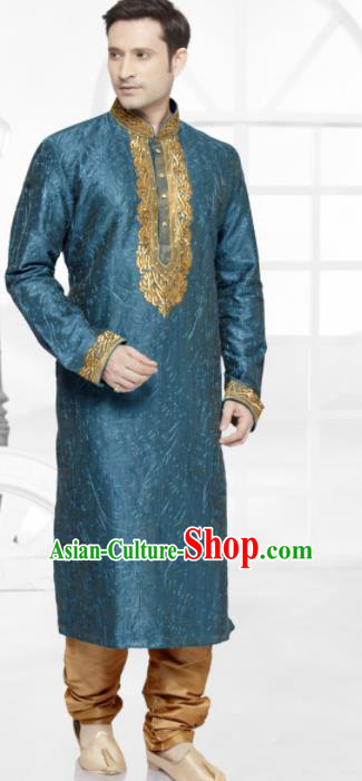 Asian Indian Sherwani Bridegroom Embroidered Peacock Blue Clothing India Traditional Wedding Costumes Complete Set for Men