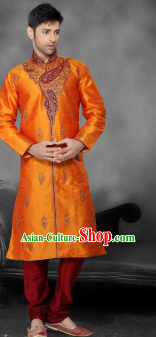 Asian Indian Sherwani Bridegroom Embroidered Orange Clothing India Traditional Wedding Costumes Complete Set for Men