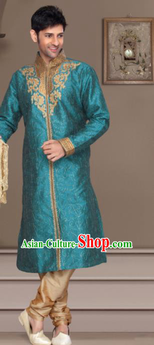Asian Indian Sherwani Bridegroom Embroidered Blue Clothing India Traditional Wedding Costumes Complete Set for Men