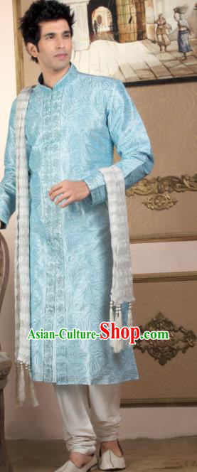 Asian Indian Sherwani Bridegroom Light Blue Clothing India Traditional Wedding Costumes Complete Set for Men