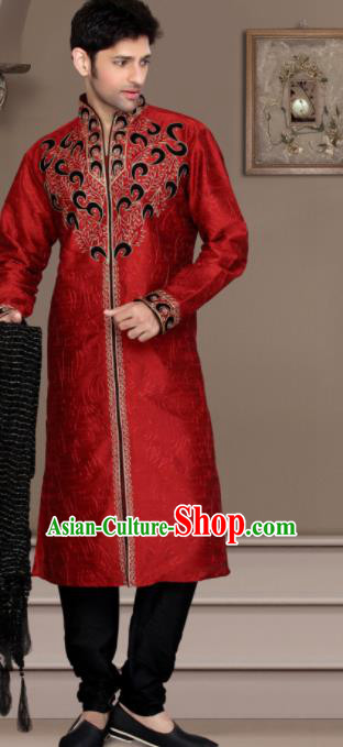 Asian Indian Wedding Sherwani Bridegroom Red Clothing India Traditional Embroidered Costumes Complete Set for Men