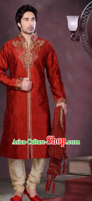 Asian Indian Wedding Sherwani Bridegroom Red Silk Clothing India Traditional Embroidered Costumes Complete Set for Men