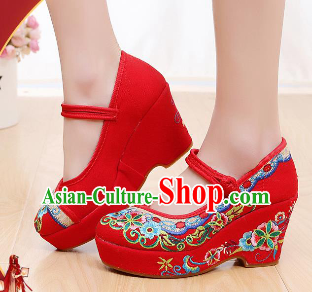 Chinese National Red High Heels Shoes Traditional Hanfu Shoes Opera Shoes Embroidered Shoes for Women