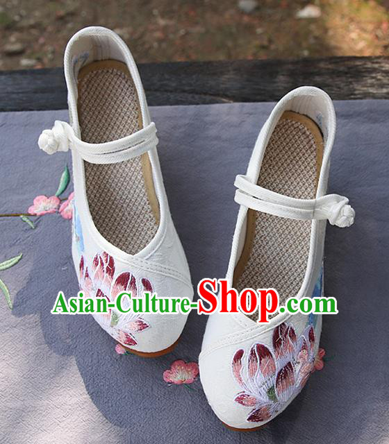 Chinese National Embroidered Lotus White Shoes Traditional Hanfu Shoes Opera Shoes Wedding Bride Shoes for Women