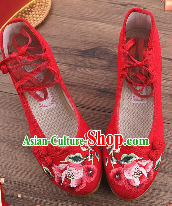 Chinese National Embroidered Red Shoes Traditional Hanfu Shoes Opera Shoes Wedding Bride Shoes for Women