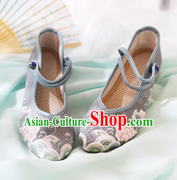 Chinese National Embroidered Peony Grey Shoes Traditional Hanfu Shoes Opera Shoes Wedding Bride Shoes for Women