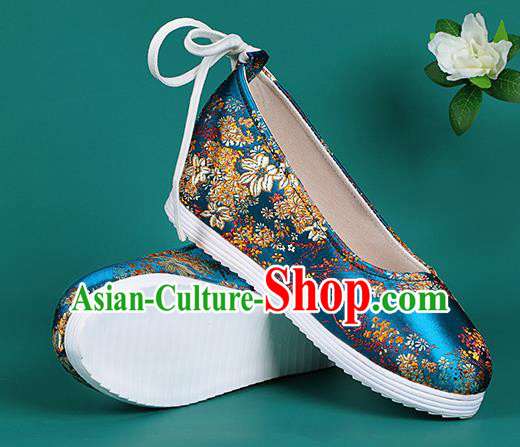 Chinese National Blue Brocade Round Toe Shoes Traditional Hanfu Shoes Princess Shoes Opera Shoes for Women