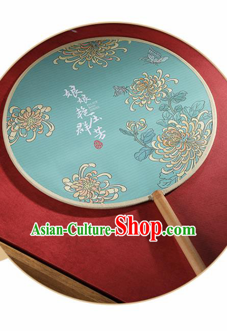 Chinese Traditional Printing Chrysanthemum Green Round Fans Hanfu Silk Palace Fan for Women