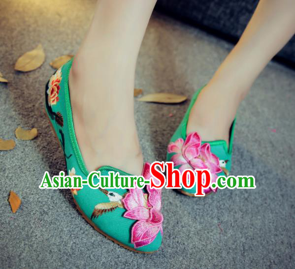 Traditional Chinese Embroidery Lotus Green Shoes Embroidered Shoes Cloth Shoes for Women