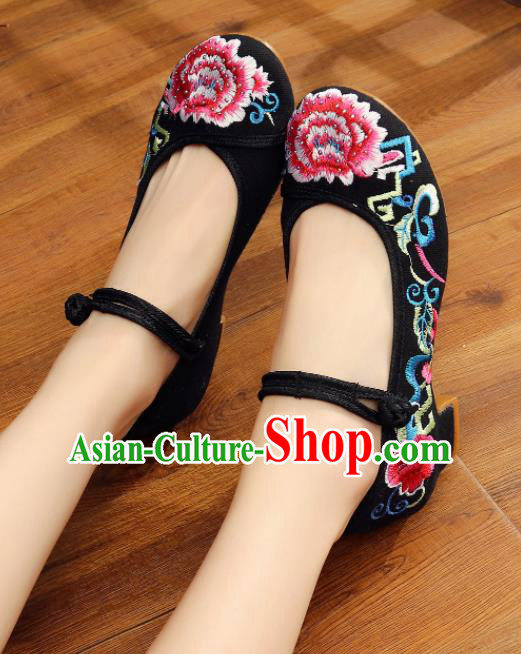 Traditional Chinese Old Beijing Embroidery Peony Black Shoes Embroidered Shoes Cloth Shoes for Women
