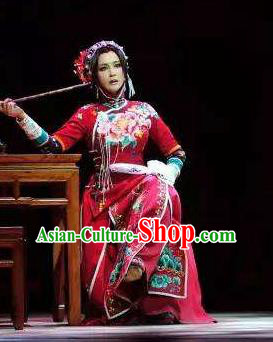 Chinese Unsurpassed Beauty Of A Generation Ancient Courtesan Sai Jinhua Red Dress Stage Performance Dance Costume and Headpiece for Women