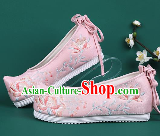 Chinese Traditional Wedding Embroidered Peony Pink Shoes Hanfu Shoes Princess Shoes for Women