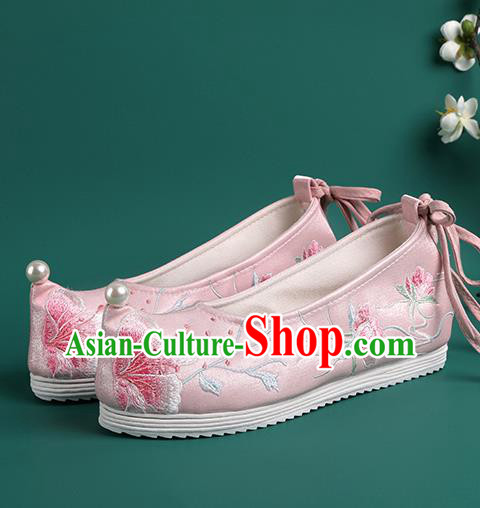 Chinese Pearl Shoes Traditional Wedding Pink Embroidered Shoes Hanfu Shoes Princess Shoes for Women