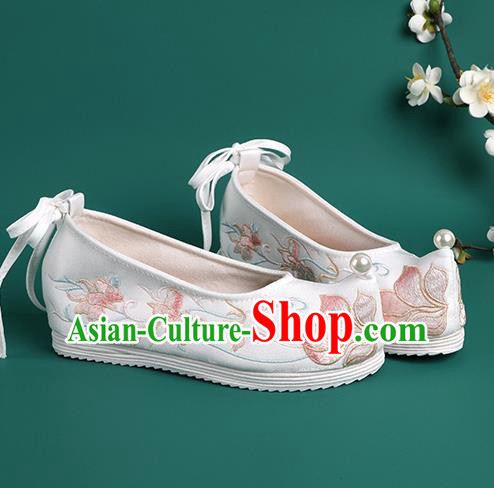 Chinese Pearl Shoes Traditional Wedding White Embroidered Shoes Hanfu Shoes Princess Shoes for Women