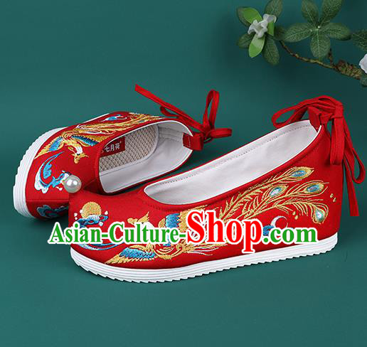 Chinese Wedding Embroidered Phoenix Red Shoes Traditional Hanfu Shoes Princess Shoes for Women