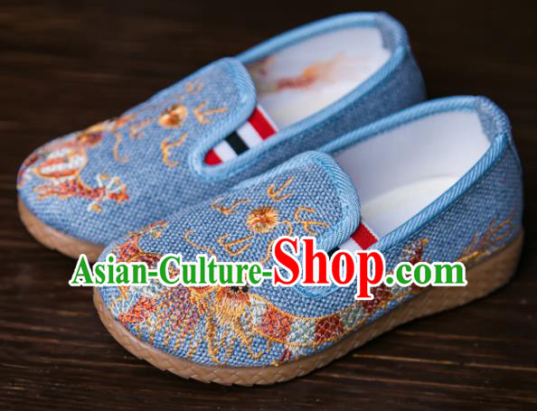 Handmade Chinese Traditional Blue Canvas Embroidered Dragon Shoes New Year National Shoes Hanfu Shoes for Kids