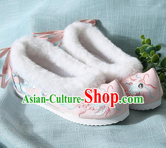 Traditional Chinese Handmade Embroidered Goldfish Pink Shoes Wedding Shoes Hanfu Shoes Princess Shoes for Women