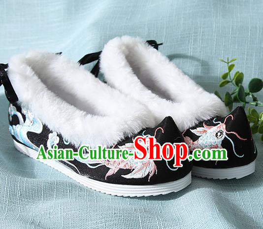Traditional Chinese Handmade Embroidered Goldfish Black Shoes Wedding Shoes Hanfu Shoes Princess Shoes for Women