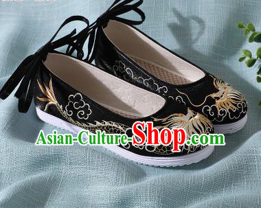 Chinese Handmade Embroidered Dragon Black Shoes Traditional Wedding Shoes Hanfu Shoes Princess Shoes for Women