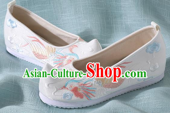 Chinese Handmade Embroidered Bird White Shoes Traditional Wedding Shoes Hanfu Shoes Princess Shoes for Women