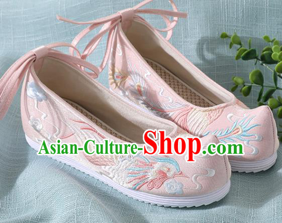 Chinese Handmade Embroidered Bird Pink Shoes Traditional Wedding Shoes Hanfu Shoes Princess Shoes for Women