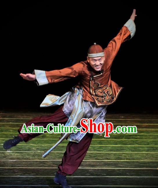 Chinese Dance Drama Wild Jujubes Ancient Qing Dynasty Merchant Clothing Stage Performance Dance Costume for Men