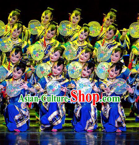 Chinese Dance Drama Wild Jujubes Classical Dance Blue Dress Stage Performance Dance Costume and Headpiece for Women